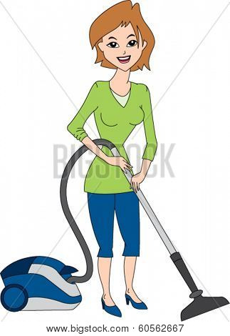 Housewife using vacuum cleaner