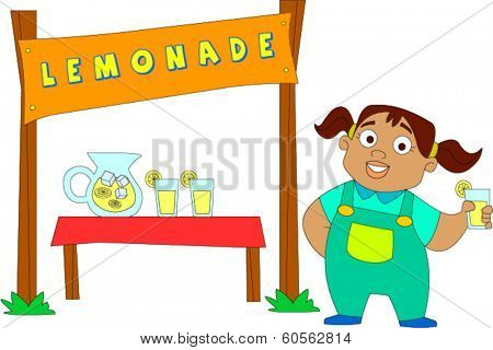 Cute African American little girl at lemonade stand