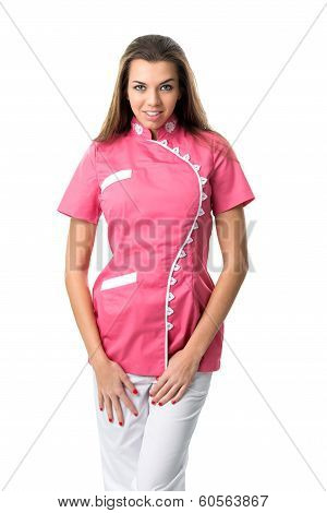 Pretty nurse in pink medical gown