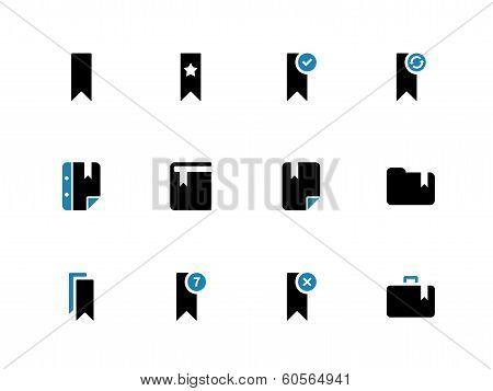 Bookmark, tag, duotone icons on white background.