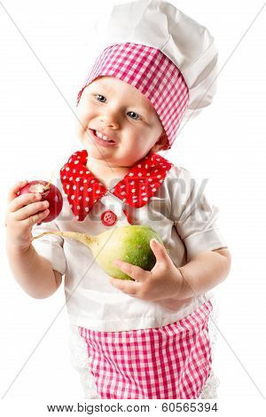 Baby Cook Girl Wearing Chef Hat With Fresh Vegetables And Fruits. Use It For A Child, Healthy Food C