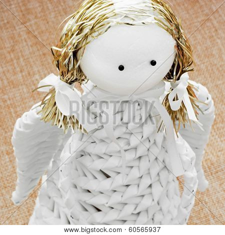 Closeup Of A White Decorative Paper Angel