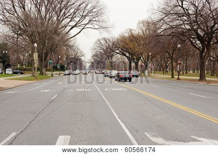 WASHINGTON, D.C. - DEC 18, 2009: Cars on road on December 18, 2009 in Washington, D.C., USA. Washington, D.C., is the capital of the United States