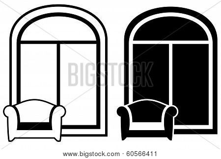 set of armchair and window silhouette
