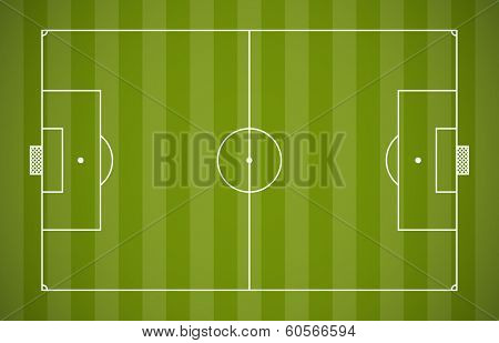 Soccer field lining vector template on green background.