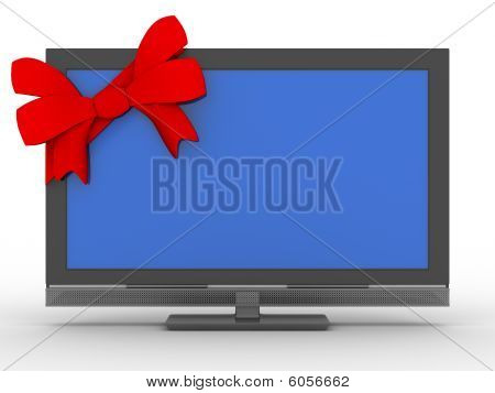 Tv In Gift On White Background. Isolated 3D Image
