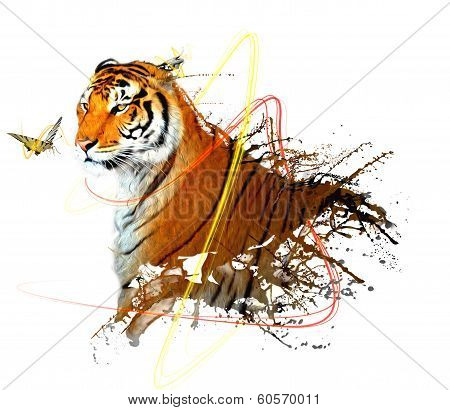 tiger splash with butterfly and beautiful effect