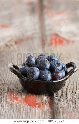 Bowl Of Fresh Ripe Autumn Blueberries