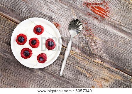 Bowl Of Fresh Berries With Creamy Yogurt