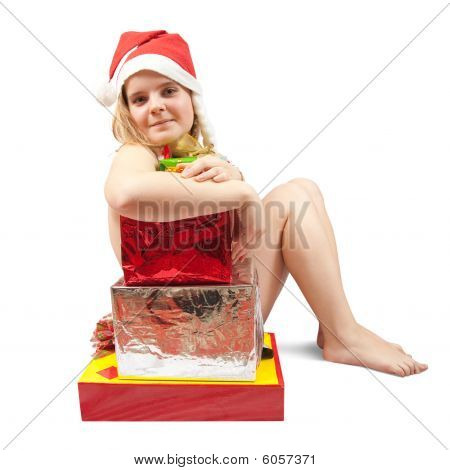 Woman  Sitting In Nude With Christmas Gifts
