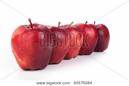 Maroon Apples Lined Up In A Row Closeup