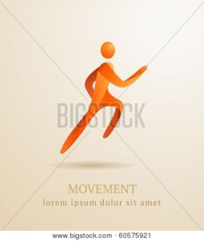 Business Concept. Abstract Human. Movement Symbol.