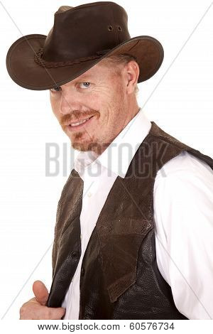 Cowboy In Vest And Hat Look Smirk Smile
