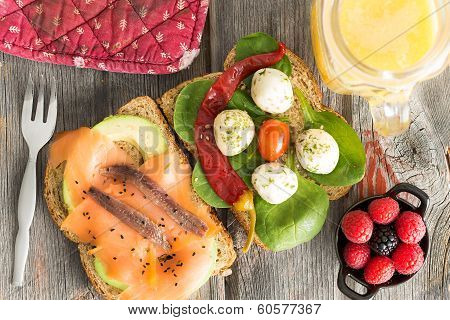 Delicious Gourmet Open Sandwiches On Wholewheat