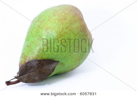 Green Pear With Leaf
