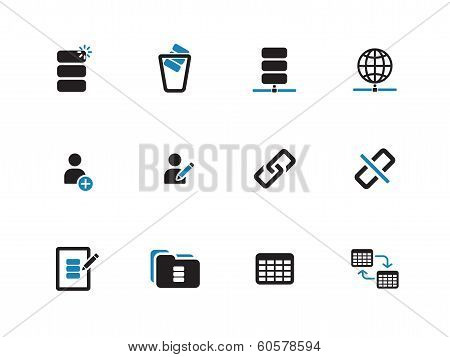 Database duotone icons on white background.