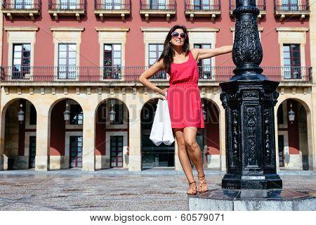 Woman Enjoying Shopping Travel To Spain