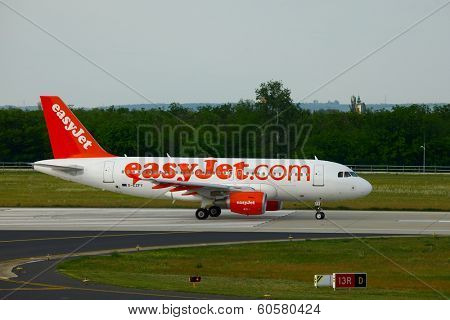 BUDAPEST, HUNGARY - MAY 5: EasyJet A319  taxiing at Budapest Liszt Ferenc Airport, May 5th 2012. Easyjet is the second largest low-cost airline of Europe.