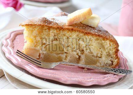Slice Of Homemade Apple Sponge Cake On Pink Plate
