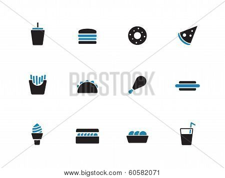 Fast food duotone icons on white background.