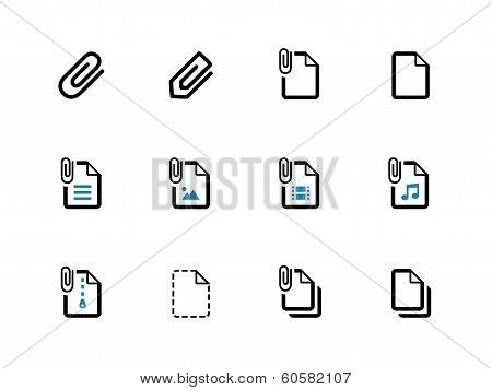 File Clip duotone icons on white background.