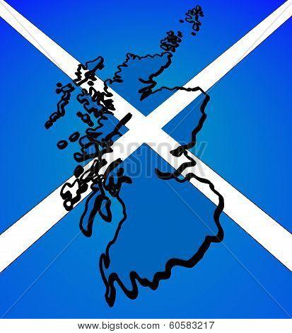 Outline of Scotland - slanted - placed over Scottish flag