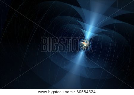 Planet Earth with it's magnetic field illustrated  (Elements of this 3d image furnished by NASA)