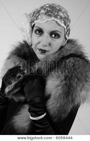 Retro portrait of a sensual woman from 20ties