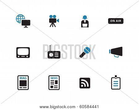 Media duotone icons on white background.