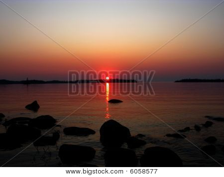 Sunset over Lake Superior at Todd Harbor, Isle Royale National Park, Michigan