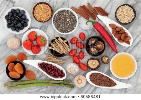 Health food selection over a marble background.