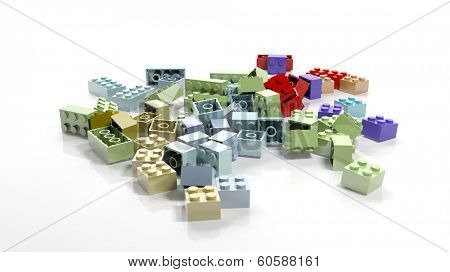 Pile of plastic blocks isolated on white background