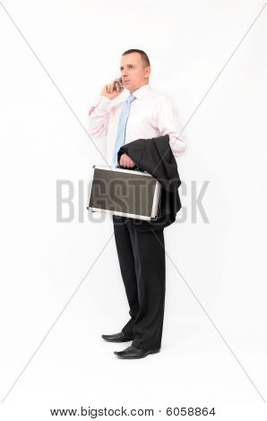 Businessman on phono