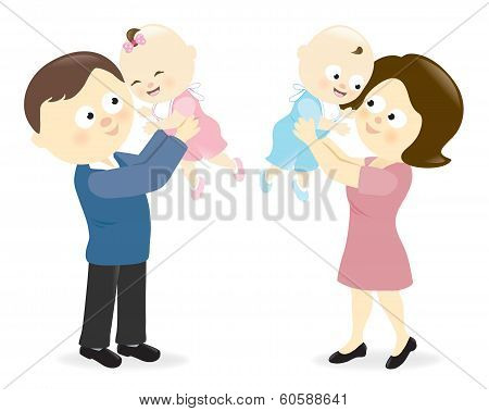 Couple holding up their babies