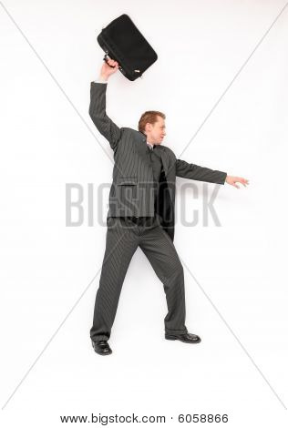 Businessman with briefcase over a head.