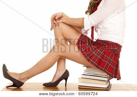 School Girl Body Sit On Books