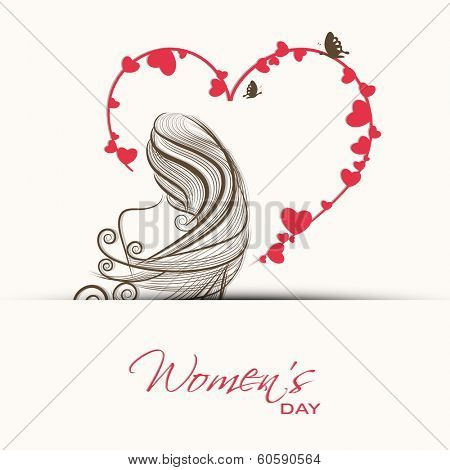 Happy Women's Day celebrations concept with illustration of beautiful long hairs and pink heart shape design, can be use as greeting card or background.