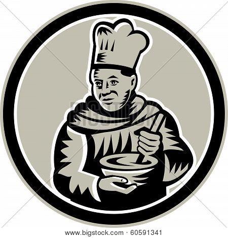 Chef Cook Mixing Bowl Woodcut Retro