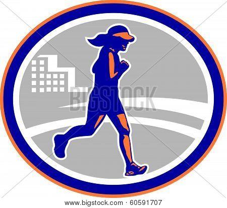 Female Marathon Runner City Retro