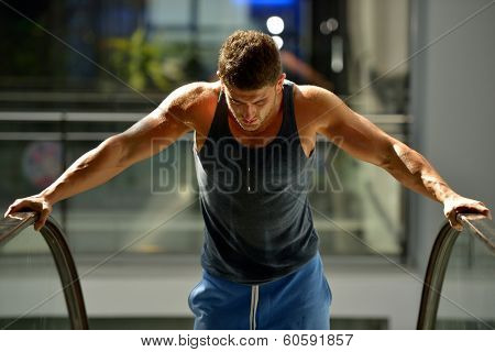 young man exercising in the gym