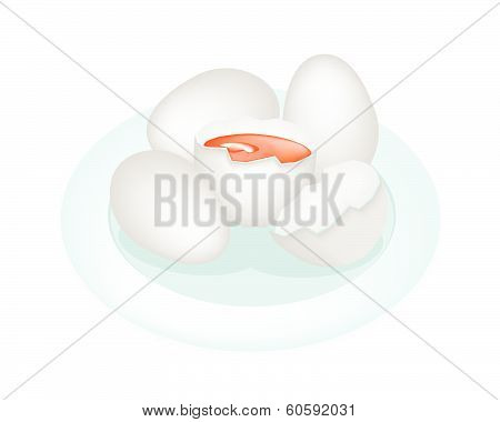 An Illustration Duck Eggs In White Plate
