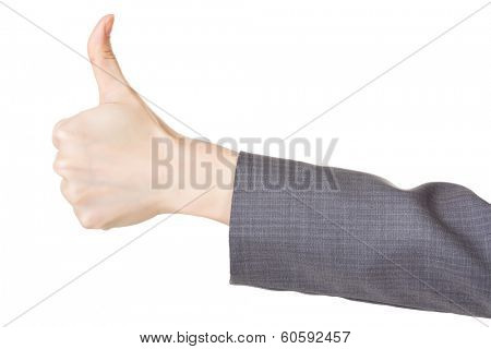 Business woman's hand with thumb up gesture, closeup.