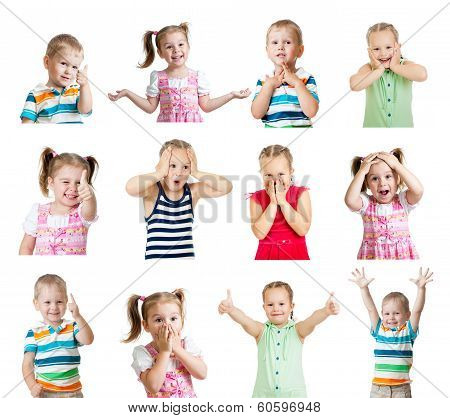 Collection Of Kids With Different Emotions Isolated On White Background