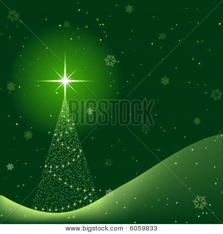 Escena de invierno tranquilo con nieve y árbol de Navidad