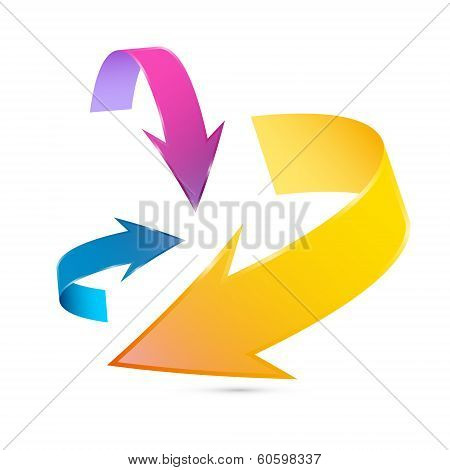 Colorful 3D Vector Arrows Isolated On White Background