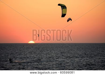 Kitesurfers at Sunset