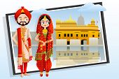 foto of sikh  - easy to edit vector illustration of Sikh wedding couple - JPG