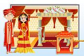 foto of indian wedding  - easy to edit vector illustration of Indian wedding couple - JPG