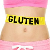 stock photo of stomach  - Gluten allergy - JPG
