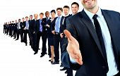 stock photo of leader  - Business group in a row - JPG